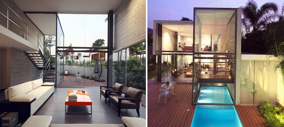 interiors of and elegant home by Doblado Arquitectos in La Planicie