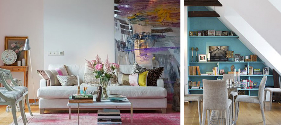 Chic attic apartment with a colorful interior, residential, best design projects,
