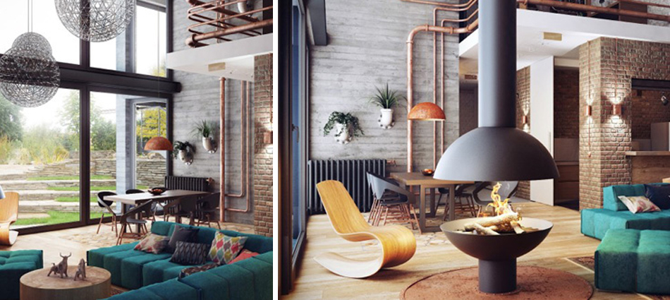 residential project by Uglyanitsa Alexander, using rusty pipes as odd elements of décor.