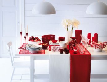 Celebrity Homes: How they decorate for Christmas Candy cane red white Christmas table 345x265