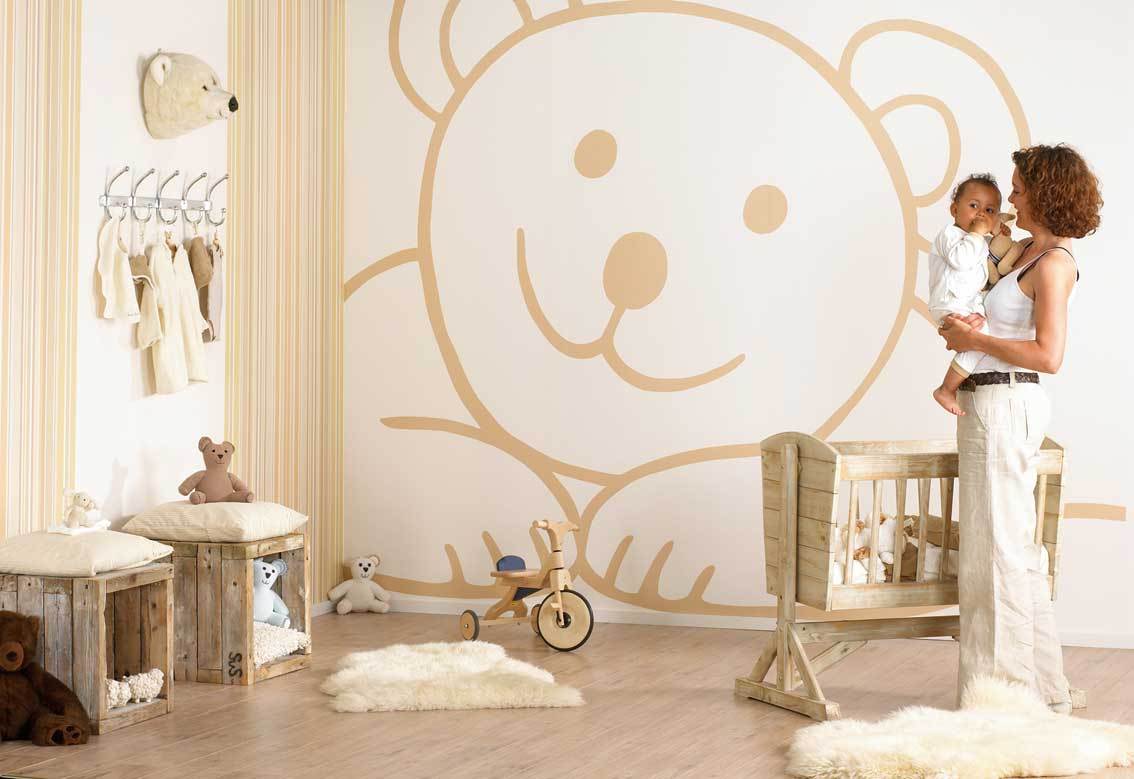 Teddy bear wall decor idea design for kids baby room for Baby room decor za