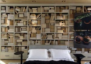 Cool-Bedroom-with-Lots-of-Wood-Bookshelves Cool Bedroom with Lots of Wood Bookshelves 300x214