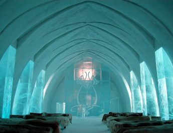 TOP 10 OF THE WILDEST HOTELS FROM AROUND THE WORLD Ice Hotel Church Jukkasj  rvi 345x265