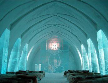 TOP 10 OF THE WILDEST HOTELS FROM AROUND THE WORLD Ice Hotel Church Jukkasj  rvi 345x265