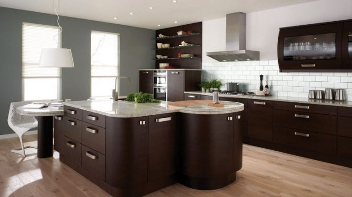 BEST KITCHEN DESIGN TRENDS ideas best modern kitchen design in 2013 with furniture made of dark brown wood and floor in the kitchen is made of wood 715x400
