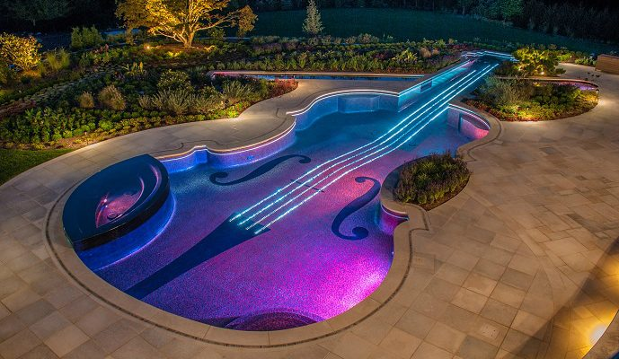 Glass-tile-Violin-Swimming-Pool-Design-689  Luxury Pools: 2014 Pinnacle Awards Winners Glass tile Violin Swimming Pool Design 6891 689x400