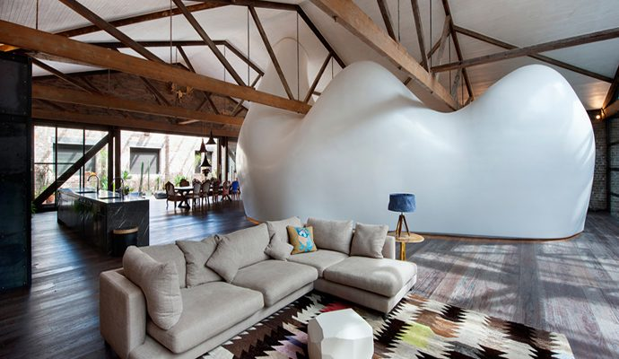 Best-design-projects-unique-sydneys-warehouse-with-molded-white-cocoon-1